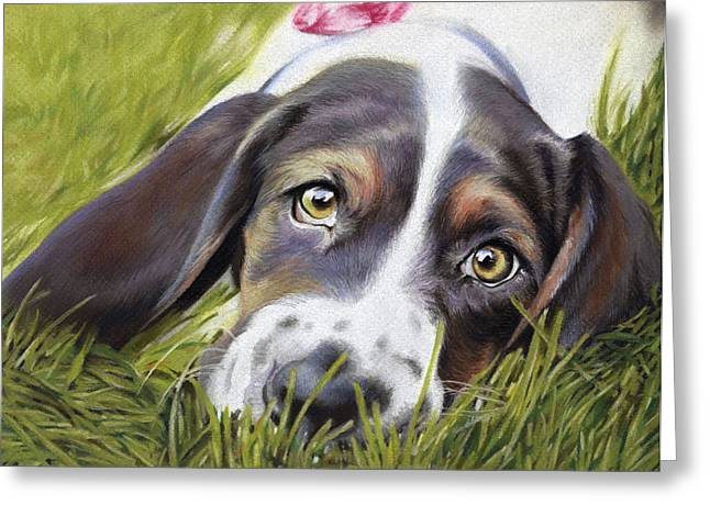 Olive Green Pastels Greeting Cards - Basset Hound Greeting Card by Natasha Denger