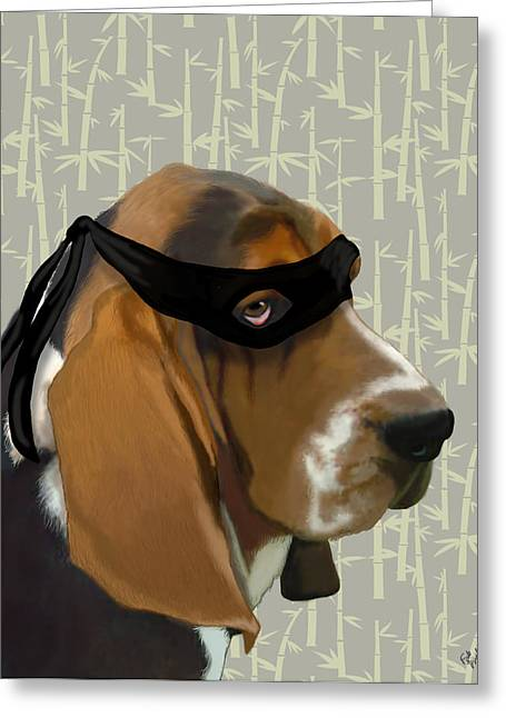 Basset Hound Framed Prints Greeting Cards - Basset Hound Ninja Greeting Card by Kelly McLaughlan