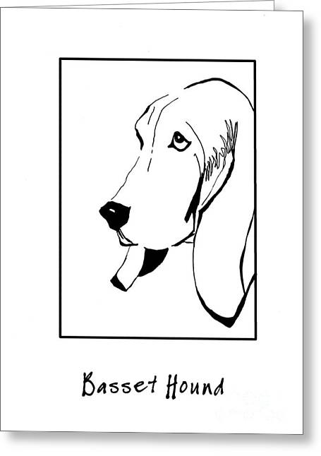 Basset Drawings Greeting Cards - Basset Hound Greeting Card by Patruschka Hetterschij