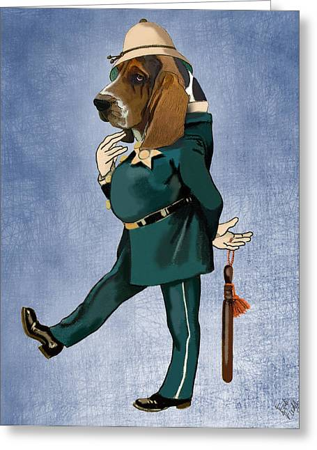 Canine Framed Prints Greeting Cards - Basset Hound Policeman Greeting Card by Kelly McLaughlan