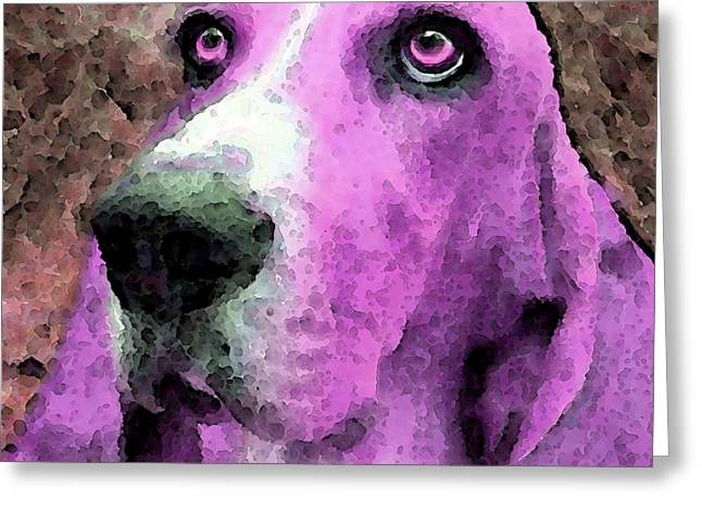 Basset Hound Framed Prints Greeting Cards - Basset Hound - Pop Art Pink Greeting Card by Sharon Cummings
