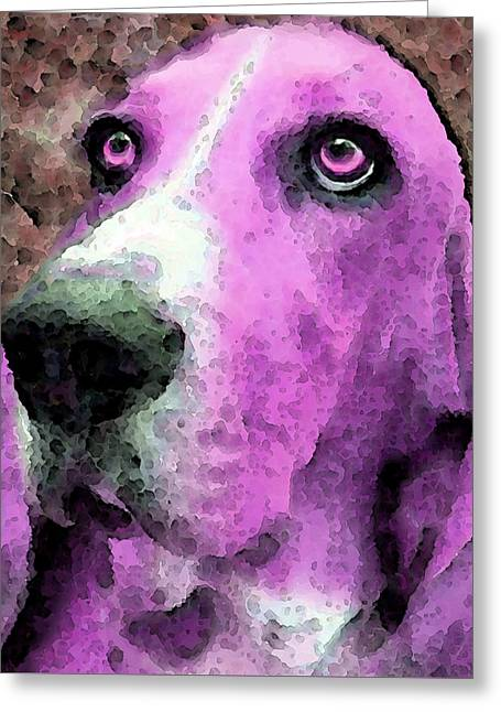 Basset Hound Prints Greeting Cards - Basset Hound - Pop Art Pink Greeting Card by Sharon Cummings