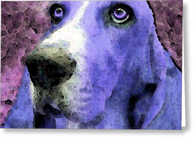 Basset Hound Framed Prints Greeting Cards - Basset Hound - Pop Art Purple Greeting Card by Sharon Cummings