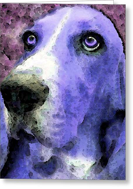 Basset Hound Prints Greeting Cards - Basset Hound - Pop Art Purple Greeting Card by Sharon Cummings