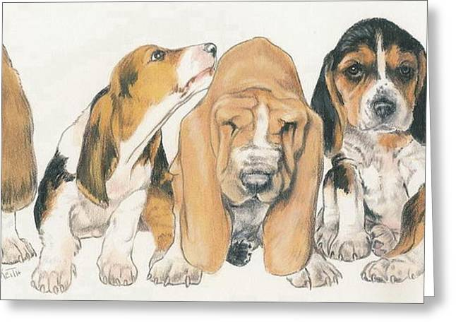 Puppies Mixed Media Greeting Cards - Basset Hound Puppies Greeting Card by Barbara Keith