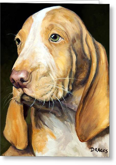 Dog Artists Greeting Cards - Basset Hound Puppy Greeting Card by Dottie Dracos