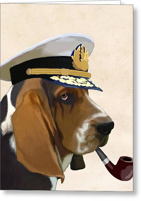 Dogs Digital Greeting Cards - Basset Hound Seadog Greeting Card by Kelly McLaughlan