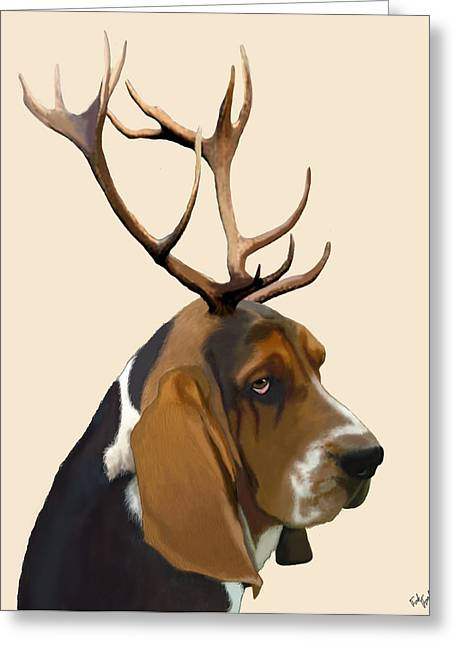 Basset Hound With Antlers Greeting Card by Kelly McLaughlan