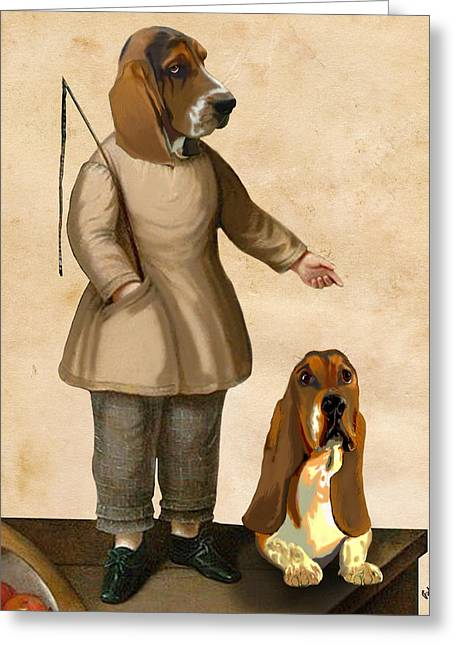 Basset Hound Framed Prints Greeting Cards - Basset Hounds Two Basset Hounds Greeting Card by Kelly McLaughlan