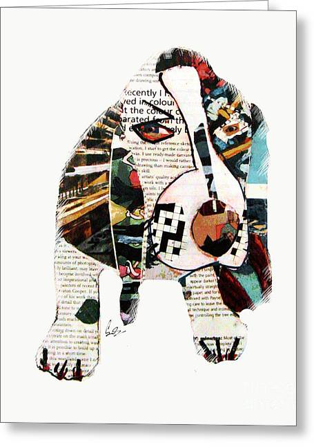 Puppies Mixed Media Greeting Cards - Bassethound Greeting Card by Bri Buckley