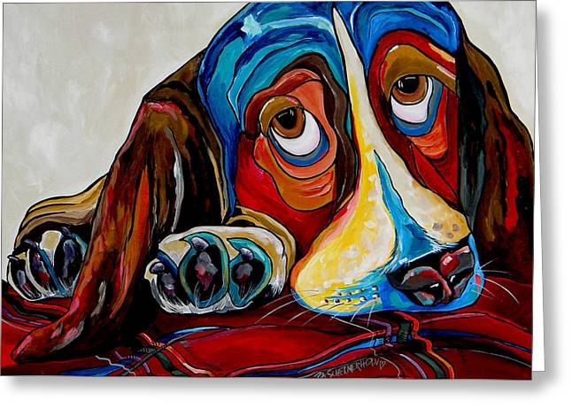 Pet Commissions Greeting Cards - Bassett Has The Blues Greeting Card by Patti Schermerhorn
