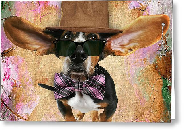 Bassett Hound Bowtie Collection Greeting Card by Marvin Blaine
