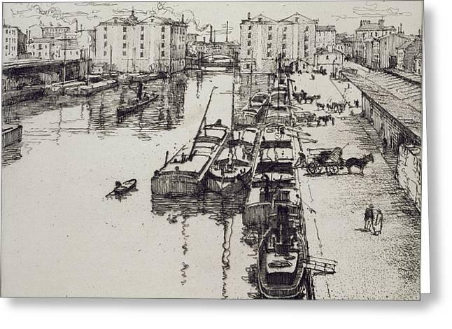 Quayside Greeting Cards - Bassin De La Villette, From Du Ier Au Greeting Card by Eugene Bejot