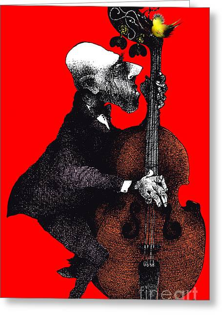 Playing Musical Instruments Drawings Greeting Cards - Bassist and small birds Greeting Card by Fikret Hajdinovic