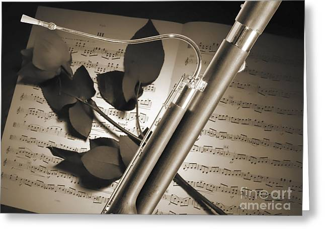 Bassoon Music Instrument Photograph In Sepia 3406.01 Greeting Card by M K  Miller