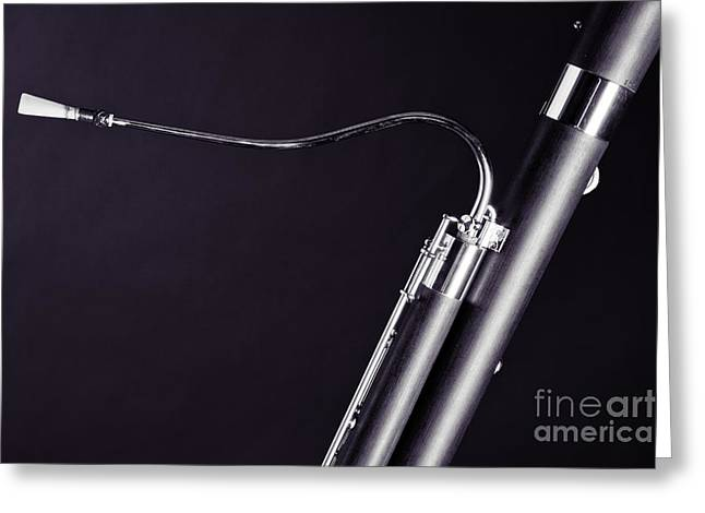 Bassoon Music Instrument Fine Art Prints Canvas Prints Greeting Cards In Black And White 3407.01 Greeting Card by M K  Miller