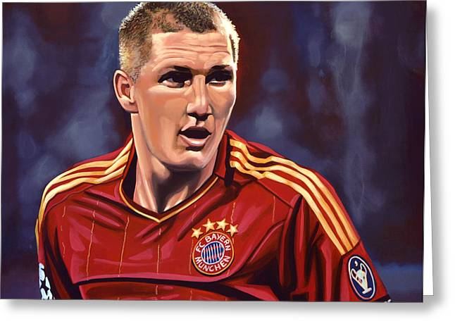 Shirt Greeting Cards - Bastian Schweinsteiger Greeting Card by Paul  Meijering