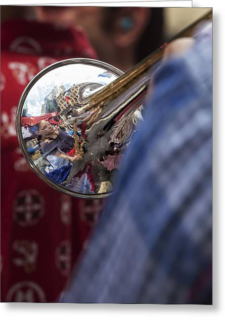 Bastille Greeting Cards - Bastille Day 7 13 14 NYC Trumpet Player Greeting Card by Robert Ullmann
