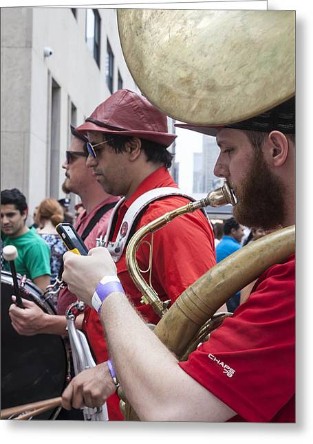Bastille Greeting Cards - Bastille Day 7 13 14 NYC Tuba Player Greeting Card by Robert Ullmann