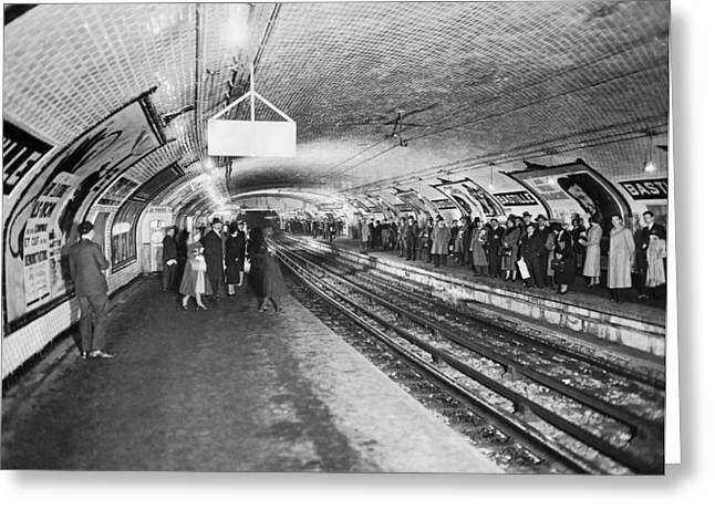 bastille Subway Station Greeting Card by Underwood Archives