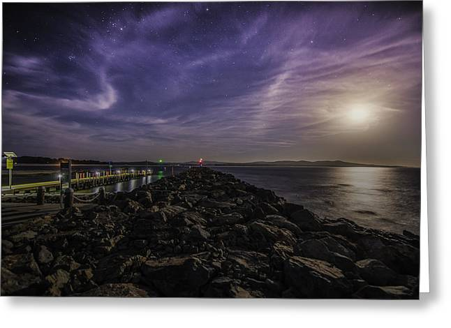 Sea Moon Full Moon Greeting Cards - Bastion Point Mallacoota Greeting Card by Paul Bryan