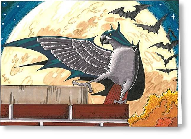 Bat Bird Greeting Card by Drisdan