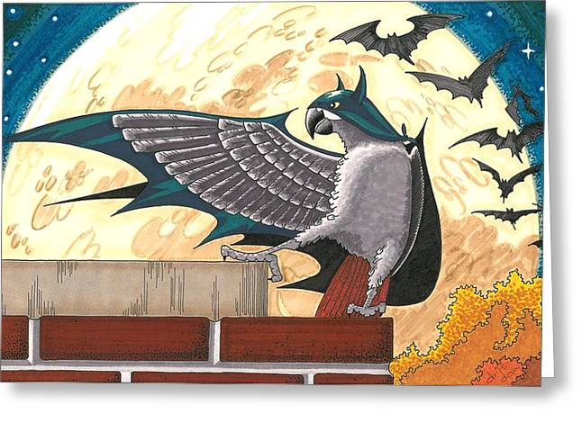 Crime Fighter Drawings Greeting Cards - Bat Bird Greeting Card by Drisdan