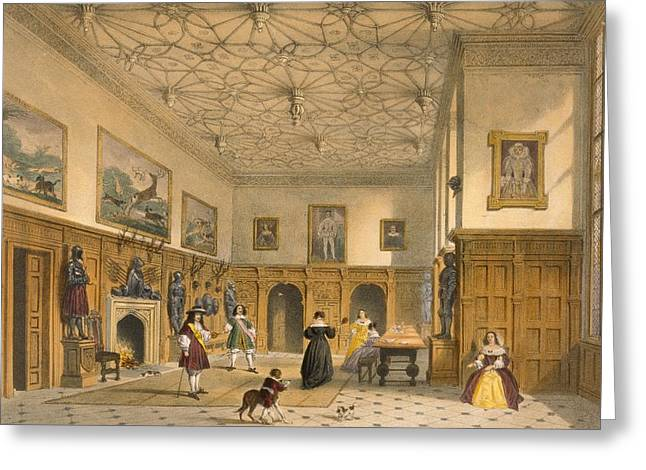 Interior Decorating Drawings Greeting Cards - Bat Game In The Grand Hall, Parham Greeting Card by Joseph Nash