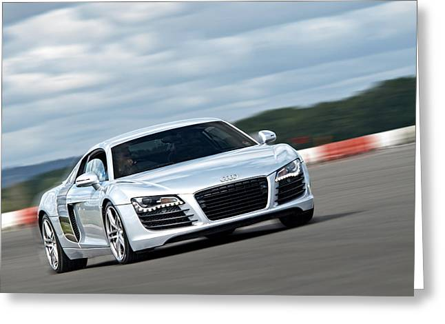 European Artwork Greeting Cards - Bat Out of Hell - Audi R8 Greeting Card by Gill Billington