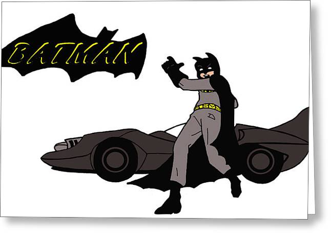 Funny Ceramics Greeting Cards - Bat Racer Greeting Card by Zack Cogburn