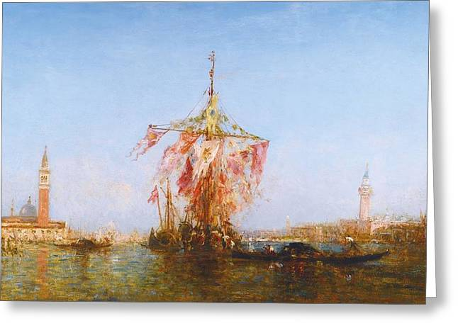 Bassin Greeting Cards - Bateau Pavoise Sur Le Bassin Greeting Card by Celestial Images