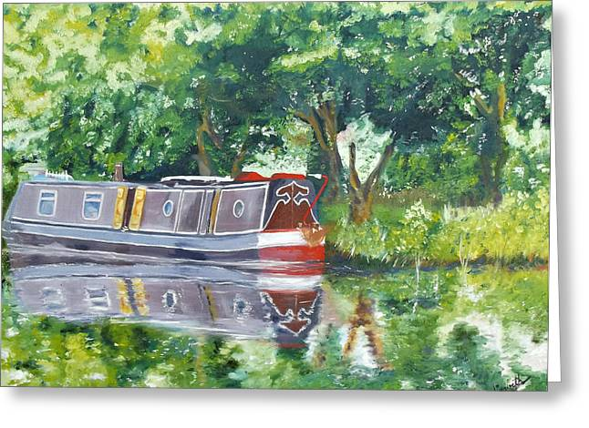 Bateau Sur Riviere Greeting Card by I F Abbie Shores