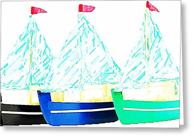 Toy Boat Greeting Cards - BATEAUX a VOILES Greeting Card by Lauranns Etab