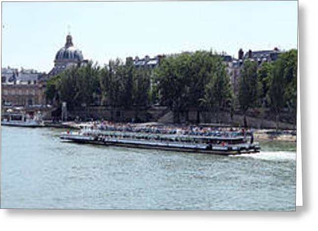 Bateau Greeting Cards - Bateaux Boat In A River, Seine River Greeting Card by Panoramic Images