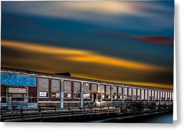 Industrial Greeting Cards - Bates Mill Number 5 Sunset Greeting Card by Bob Orsillo