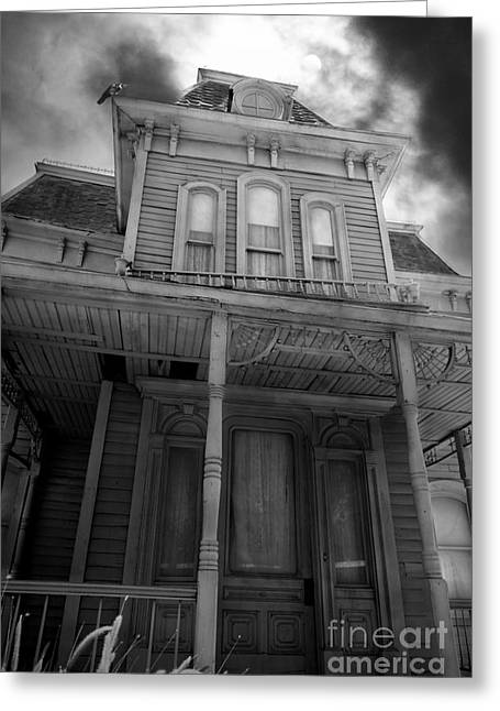 Haunted House Digital Art Greeting Cards - Bates Motel 5D28867 bw Greeting Card by Wingsdomain Art and Photography
