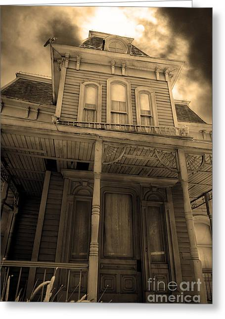 Bates Motel Greeting Cards - Bates Motel 5D28867 sepia v2 Greeting Card by Wingsdomain Art and Photography