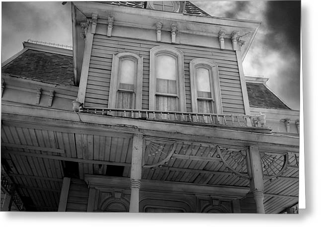 Haunted House Digital Art Greeting Cards - Bates Motel 5D28867 square Black and White Greeting Card by Wingsdomain Art and Photography