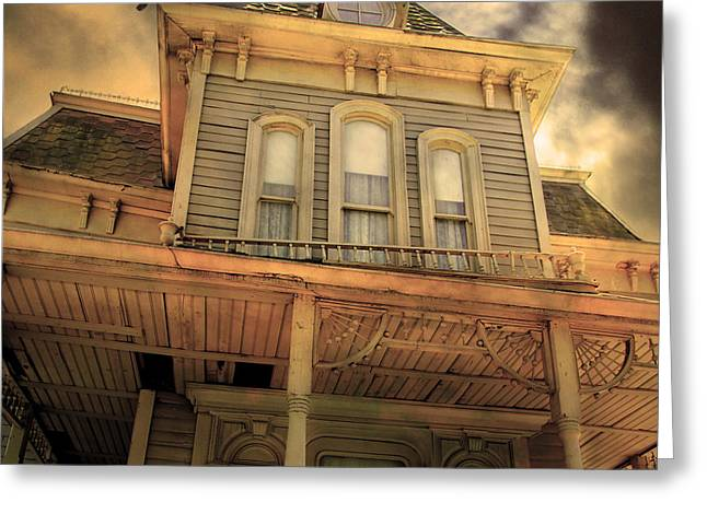 Haunted House Digital Art Greeting Cards - Bates Motel 5D28867 square Sepia v1 Greeting Card by Wingsdomain Art and Photography