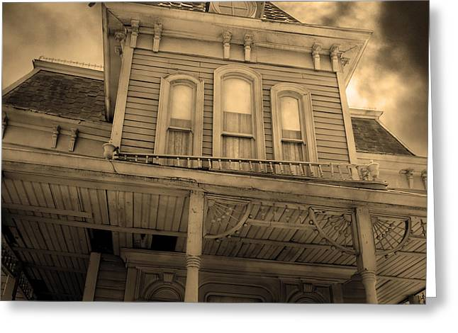 Haunted House Digital Art Greeting Cards - Bates Motel 5D28867 square Sepia v2 Greeting Card by Wingsdomain Art and Photography