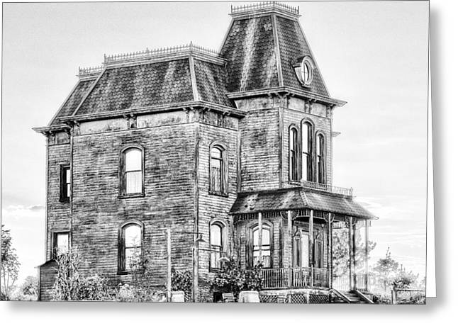 Bates Motel Greeting Cards - Bates Motel Haunted House Black and White Greeting Card by Paul W Sharpe Aka Wizard of Wonders