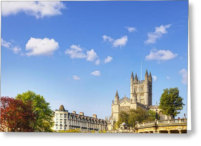 Abbey Greeting Cards - Bath Abbey Orange Grove and Colonnade Greeting Card by Colin and Linda McKie