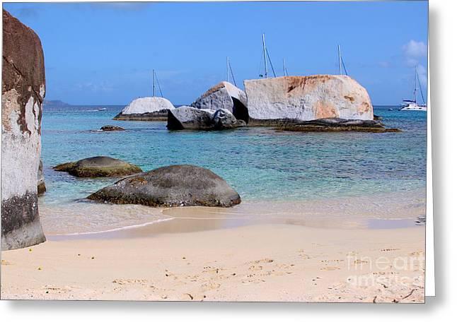 British Virgin Islands Greeting Cards - Bath Beach Greeting Card by Carey Chen