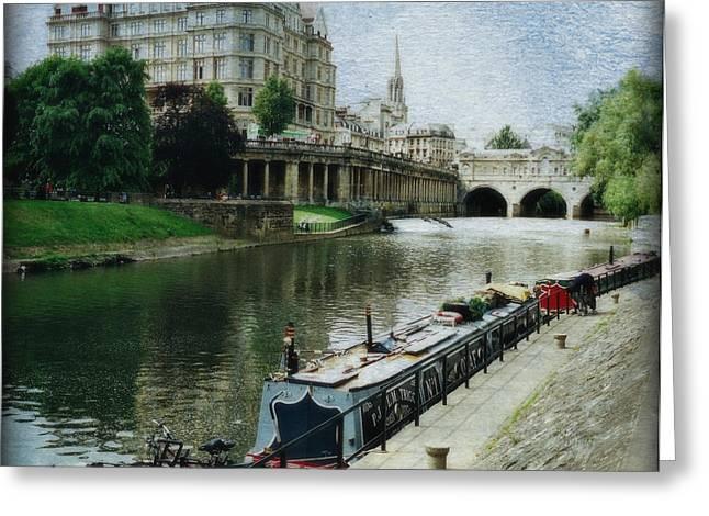 Pulteney Bridge Greeting Cards - Bath Canal Greeting Card by Marilyn Wilson