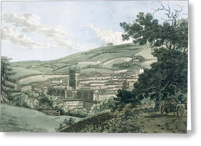 Townhouses Greeting Cards - Bath, From The Private Road Leading Greeting Card by J. & Ibbetson, J.C. Hassell