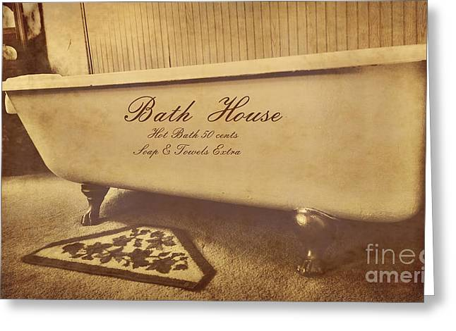 Bath House Greeting Cards - Bath House Greeting Card by Cheryl Young