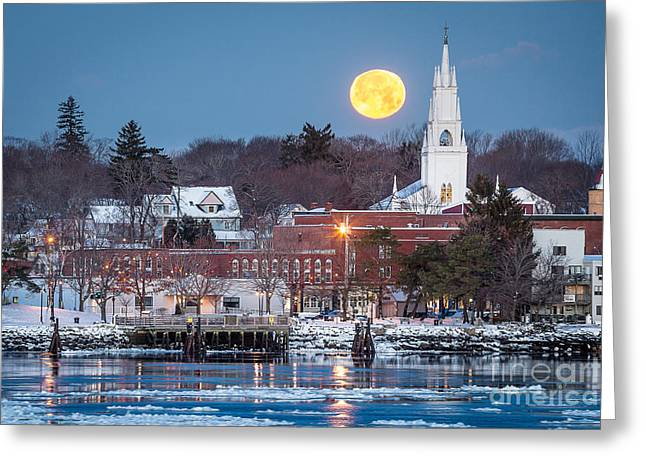 Maine Landscape Greeting Cards - Bath Maine Moon Greeting Card by Benjamin Williamson