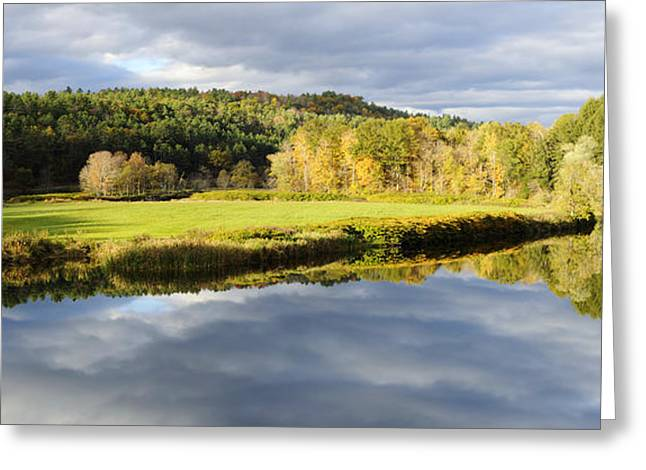 New England Village Greeting Cards - Bath NH Autumn Panorama Greeting Card by Luke Moore