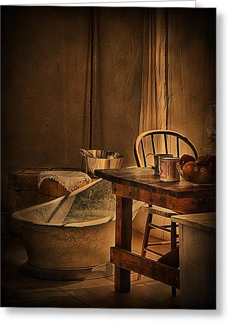 Warm Tones Greeting Cards - Bath Night at Fort Verde Greeting Card by Priscilla Burgers