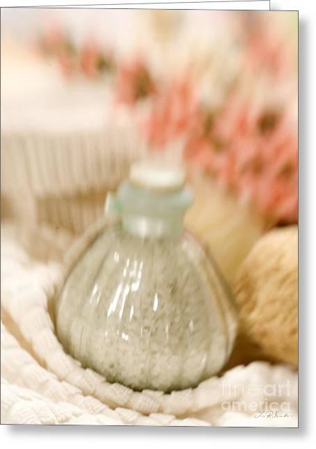 Bevel Greeting Cards - Bath Salt in Beveled Glass Bottle soft Greeting Card by Iris Richardson